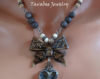 Hand Made, Rustic Soldered Bezel and resin, Bow Heart rhinestone necklace OOAK