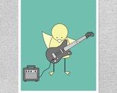 Art de la pépinière, de Kid Wall Art, impression de pépinière, pépinière Teal Art, artistique pour les enfants, guitare Art Print, musique Art de pépinière, pépinière Teal imprimer