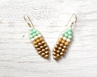 Gold Dangle Earrings // Woven Earrings // Beaded Earrings // Classic Jewelry // Boho Jewelry // Festival Earrings // Gift Ideas For Women
