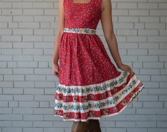 Vintage 1970s Red Floral Tiered Ruffled Dress (Size Small)