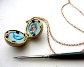 Mermaid Locket, Personalized Portrait Painted Miniature, One of a Kind Custom Gift