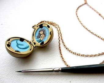 Mermaid Locket, Personalized Portrait Painted Miniature, One of a Kind Custom Gift