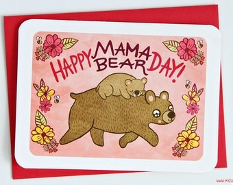 Happy Mama Bear Day Card - sweet Mothers Day Card floral Happy Mothers Day Gift for Mom cute Mothers Day Card for New Mom Grandma Card