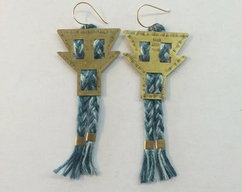 Hand stamped & oxidized brass earrings with hand dyed linen