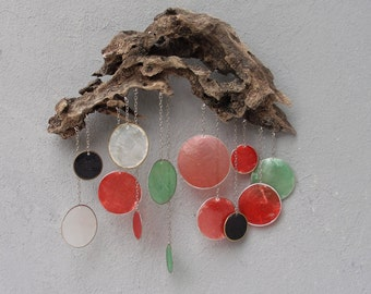 Driftwood Rainbow Rain Cloud Decor with Capiz Seashell Raindrops, Wall Hanging, Coastal decor