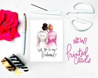 NEW-PRINTED Bridesmaid card-Will you be my Bridesmaid? Card, Dark Brunette Bride, Dark Blonde Bridesmaid, Bridesmaid Proposal