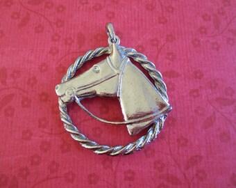 Vintage Silver Toned Horse Head Pendant