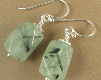 Prehnite earrings. Light green with dark flecks. Chunky. Sterling silver 925.