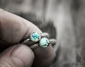 Bad Lands // Turquoise // Sterling Silver Stacking Ring, Boho made to order in your size, Gemstone metalwork by Bellalili