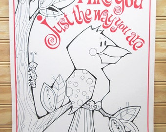 Vintage School Motivational Poster To Color Bird Beverly Johnston Illustration 1970s Retro