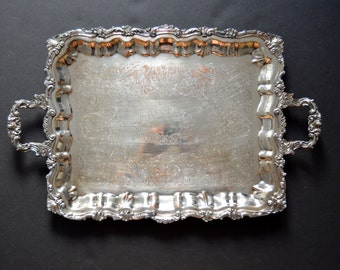 EXTRA LARGE Sheridan Serving Tray -Silver Plated Footed Bulter Tray with Handles Serving Silverplated Vintage Tray Ornate Engraved 1940s
