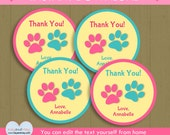 Pet Shop 4 inch circle printable Thank You Tags / INSTANT DOWNLOAD cute paw print tags / #P-39 4 in circles -you can edit text from home
