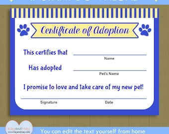 Pet adoption certificate instant download printable pet pet adoption certificate instant download printable puppy adoption kitten cat dog blue yadclub Gallery