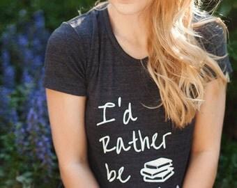 I'd rather be Reading Cursive Books American Apparel tee tshirt shirt Heathered vintage style screenprint ladies scoop top