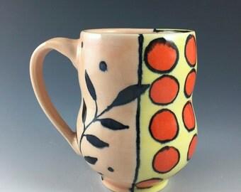Large Orange and Yellow Mug