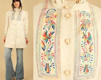 ViNtAgE 70's Embroidered Jacket // Rainbow Birds // Cotton Canvas Natural Cream Bohemian Coat // HiPPiE BoHo Medium M