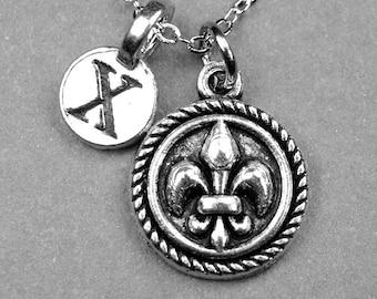 Fleur de Lis Necklace, Fleur de lis charm, initial necklace, personalized necklace, hand stamped initial, monogram necklace, letter
