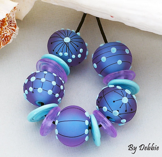 DSG Beads Handmade Organic Lampwork Glass Made To Order-Turquoise Glow Rounds