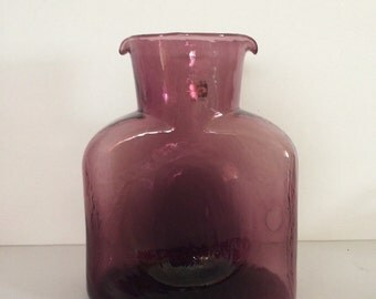 Blenko Water Bottle Amethyst Glass 1980's Sticker Double Spouted Carafe