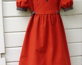 ON SALE Girls 1970s Flannel Dress with Peter Pan Collar, Puffed Sleeves and Tie Belt Ready to Ship in Girls Size 7