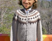 vintage cardigan sweater HILDA icelandic wool ski snowflake handknit iceland Large 46