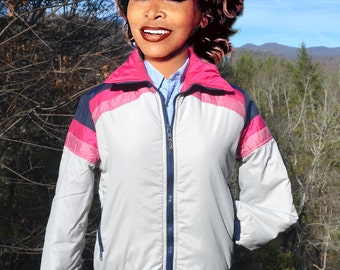 vintage 70s SKI jacket stripe puffy parka winter coat rainbow women's Small Medium 80s starting gate