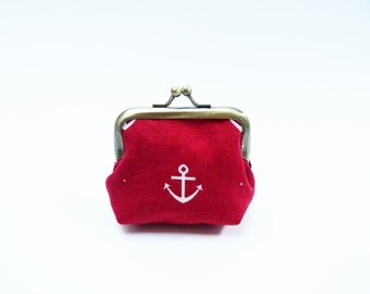 Coin purse, red and white anchor fabric, cotton purse
