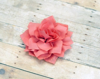 Salmon Pink Flower Hair Clip - Lotus Blossom - With or Without Rhinestone Center