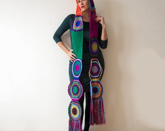 Multicolor Crocheted Circle Scarf-Ready for Shipping