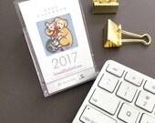 SALE! 2017 desk calendar - gift for coworkers, cat lover, dog lover, secret santa, mini calendar, new job gift Bernadette Artwork