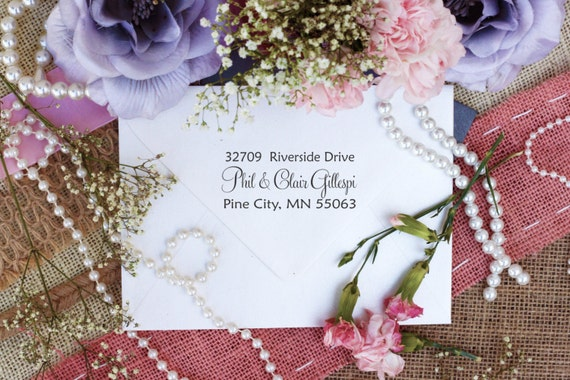 Elegant Calligraphy Custom Return Address Rubber Stamp Classic Wood Handle Stamp --2769
