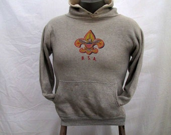 Boy Scout 50s Vintage Sweatshirt Gray pullover sweatshirt BSA vintage Hoodie sweatshirt All Cotton vintage Sweatshirt S