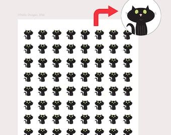 Cat stickers, stickers for planner, personal planner stickers, black cat, reminder stickers, Erin Condren, Inkwell, Kikki K, Filofax