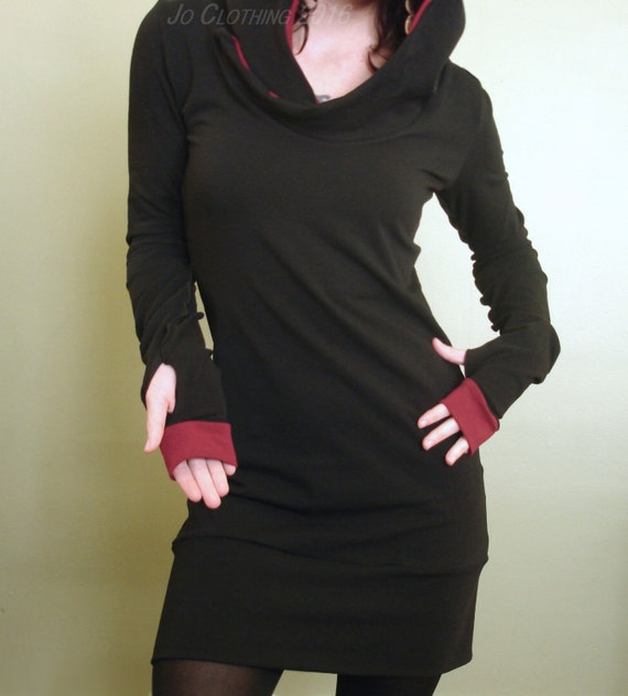 hooded tunic dress/ extra long sleeves w/thumb holes/ Black and Burgundy