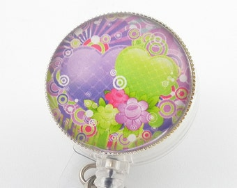 Badge Holder - Purple and Green Hearts Photo Glass on Clear Badge Reel - Belt Clip or Swivel Clip