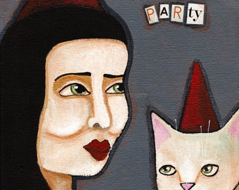 CAT Art Let's Party Girl and Cat Original Folk Art Painting