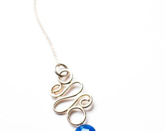 "Shaped Sterling Silver and Glass Bead Pendant ""The Flourish"""