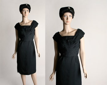 Vintage 1960s Black Wiggle Dress - Little Black Dress - Miss Elliette - Chiffon Ruched Bodice - Small