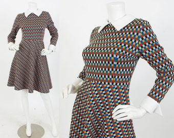 Early 1970's Vintage Multi-Colored Checkered Poly-Knit Mod Dolly Collared Dress