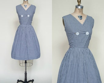 1950s Gingham Day Dress --- Vintage Navy White Dress