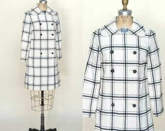 1960s Black and White Jacket --- Vintage Plaid Coat
