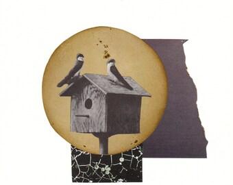 Moon Song - Original one of a kind collage - original artwork - original wall art - home decor - one of a kind artwork