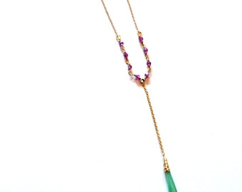 Gold Chain Y Necklace / Gold Rosary Necklace / 14k Gold Filled Long Necklace with Chrysoprase Gemstone Pendant / Long Y Chain Necklace