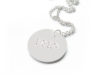 Braille Necklace, Hand Stamped Love Pendant, Copper or Aluminum, Gift for Blinds, Vision Impaired
