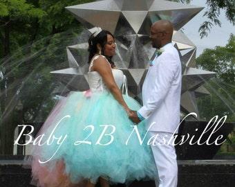 Wedding Skirt Wedding Tutu Tulle Skirt Bridal Skirt Wedding Dress Tulle Bridal Tutu Aqua Mint Ombre Skirt with Train Ladies XL Wedding Tutu