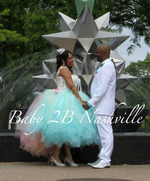 Wedding Skirt Wedding Tutu Tulle Skirt Bridal Skirt Wedding Dress Tulle Bridal Tutu Aqua Mint Ombre Skirt with Train Ladies XL Wedding Tutu