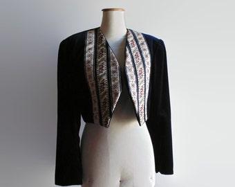 Navy Blue Velvet Womens Suit - 90s Clothes - Torero Jacket with High Waist Pants