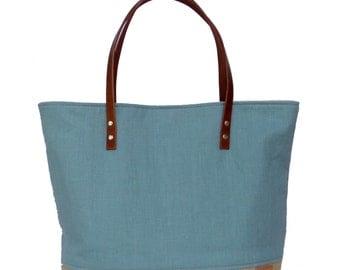 Summer Bag, Blue Linen, Market Tote Bag, Linen Tote, Resort Tote, Beach Bag, Linen Burlap Bag, Cruise Bag, Resort Bag, Burlap Bag,Canvas Bag