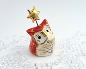 Red Fairy Owl Sculpture with Gold Star
