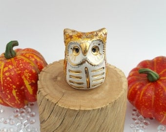 Ceramic Owl Sculpture Pumpkin Orange and Gold